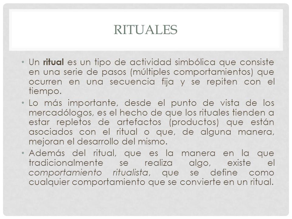 RITUALES Un ritual es un tipo de actividad simbólica que consiste en una serie de pasos (múltiples comportamientos) que ocurren en una secuencia fija y se repiten con el tiempo.