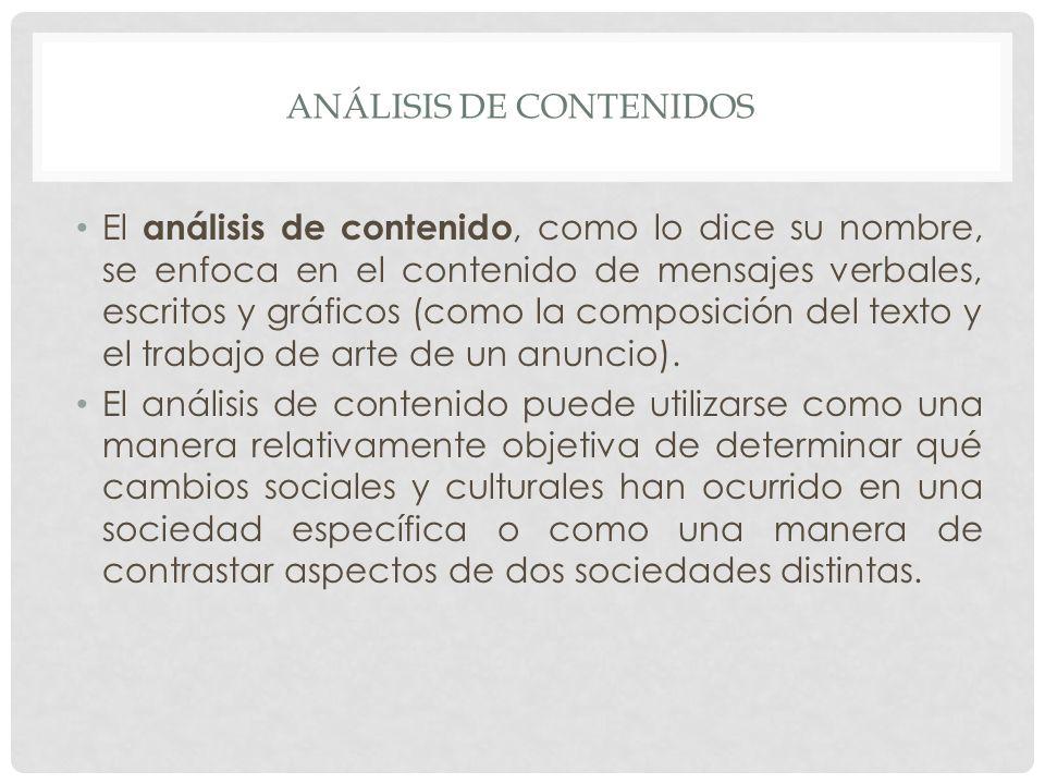 ANÁLISIS DE CONTENIDOS El análisis de contenido, como lo dice su nombre, se enfoca en el contenido de mensajes verbales, escritos y gráficos (como la composición del texto y el trabajo de arte de un anuncio).