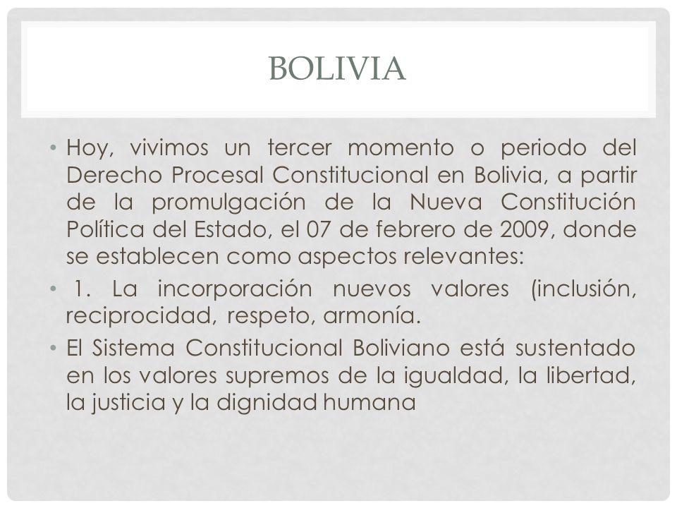 BOLIVIA Hoy, vivimos un tercer momento o periodo del Derecho Procesal Constitucional en Bolivia, a partir de la promulgación de la Nueva Constitución Política del Estado, el 07 de febrero de 2009, donde se establecen como aspectos relevantes: 1.