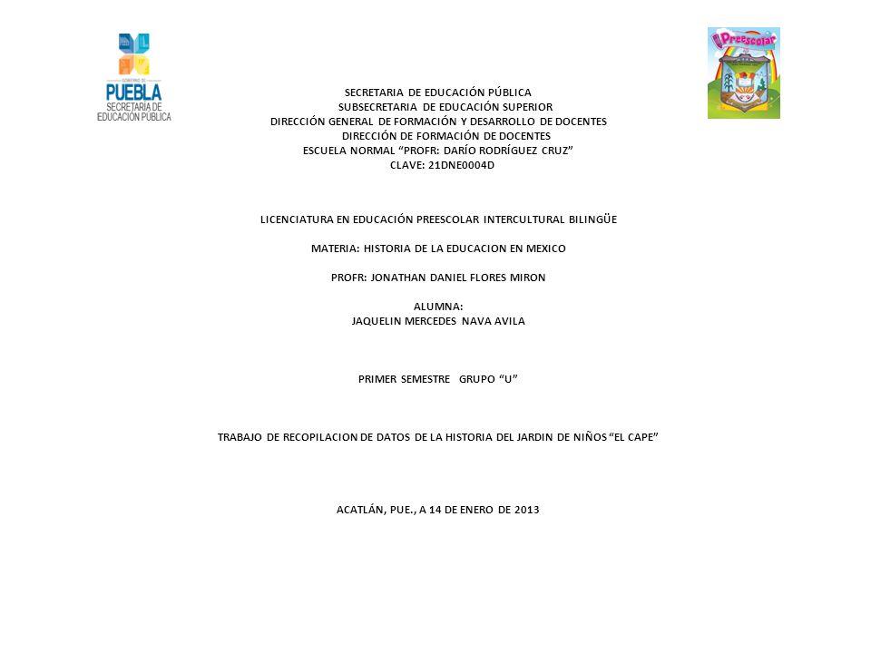 SECRETARIA DE EDUCACIÓN PÚBLICA SUBSECRETARIA DE EDUCACIÓN SUPERIOR DIRECCIÓN GENERAL DE FORMACIÓN Y DESARROLLO DE DOCENTES DIRECCIÓN DE FORMACIÓN DE