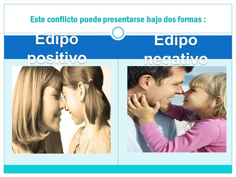 Edipo positivo Edipo negativo Este conflicto puede presentarse bajo dos formas :