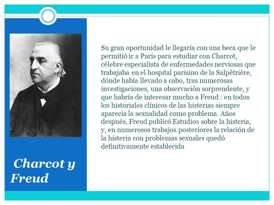 Charcot y Freud Su gran oportunidad le llegaría con una beca que le permitió ir a París para estudiar con Charcot, célebre especialista de enfermedade