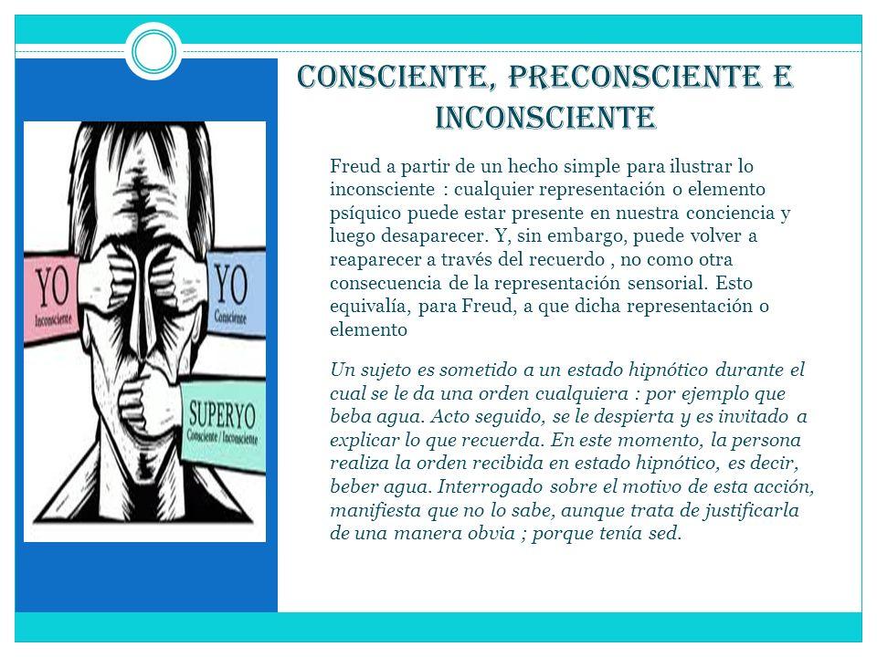Consciente, Preconsciente e Inconsciente Freud a partir de un hecho simple para ilustrar lo inconsciente : cualquier representación o elemento psíquic