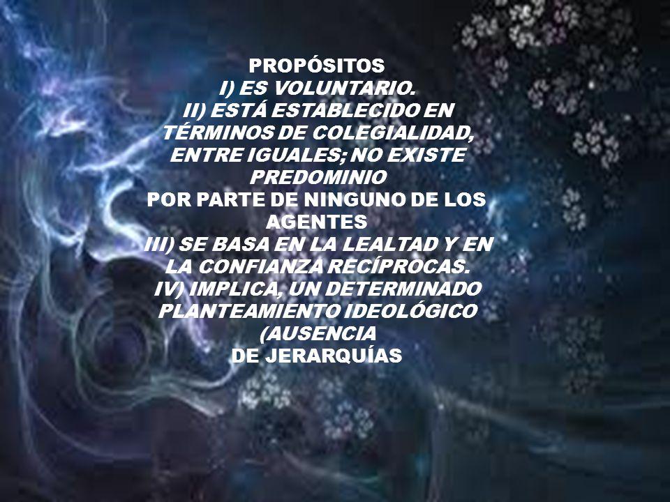 PROPÓSITOS I) ES VOLUNTARIO. II) ESTÁ ESTABLECIDO EN TÉRMINOS DE COLEGIALIDAD, ENTRE IGUALES; NO EXISTE PREDOMINIO POR PARTE DE NINGUNO DE LOS AGENTES