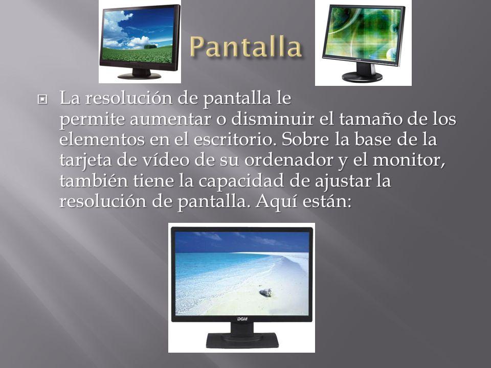 La resolución de pantalla le permite aumentar o disminuir el tamaño de los elementos en el escritorio. Sobre la base de la tarjeta de vídeo de su orde
