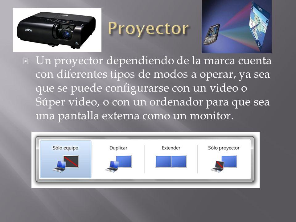 Un proyector dependiendo de la marca cuenta con diferentes tipos de modos a operar, ya sea que se puede configurarse con un video o Súper video, o con
