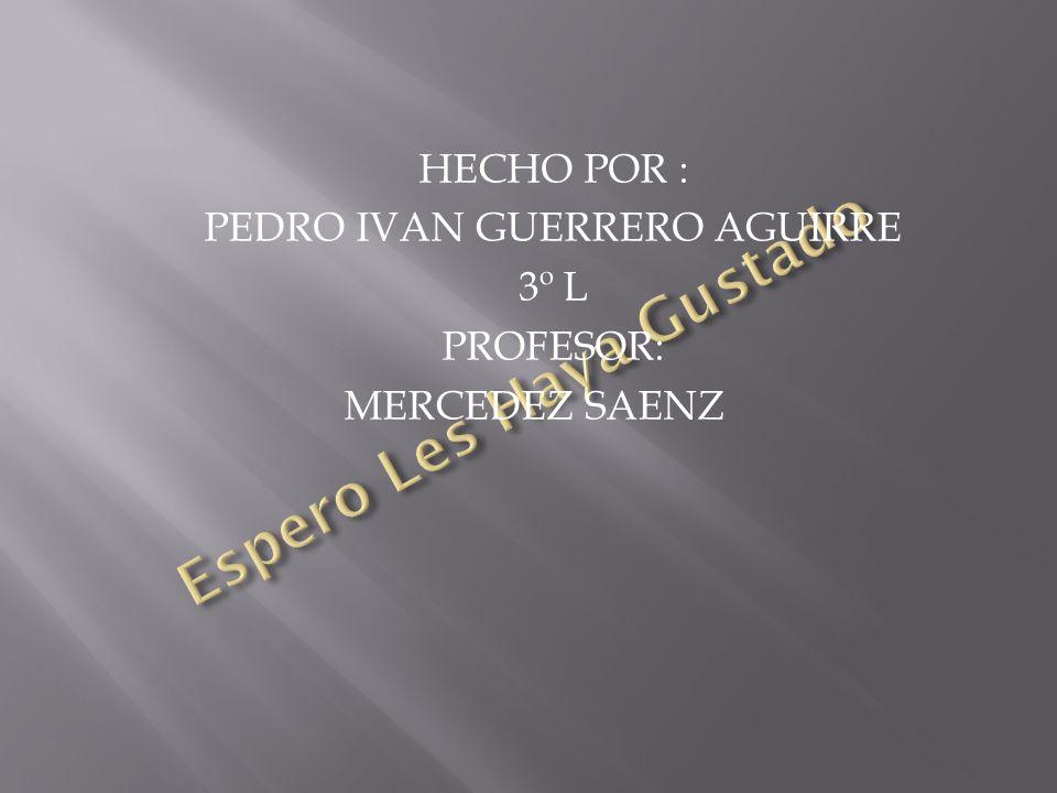 HECHO POR : PEDRO IVAN GUERRERO AGUIRRE 3º L PROFESOR: MERCEDEZ SAENZ