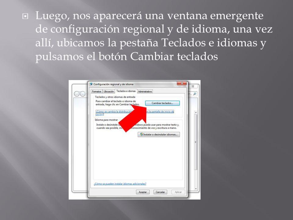 Se abrirá una nueva pantalla emergente con título: Servicios texto/idiomas entrada.