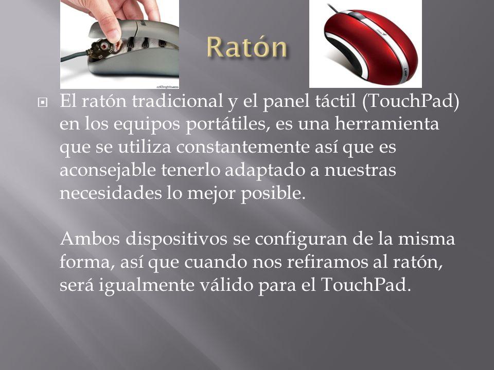 El ratón tradicional y el panel táctil (TouchPad) en los equipos portátiles, es una herramienta que se utiliza constantemente así que es aconsejable t
