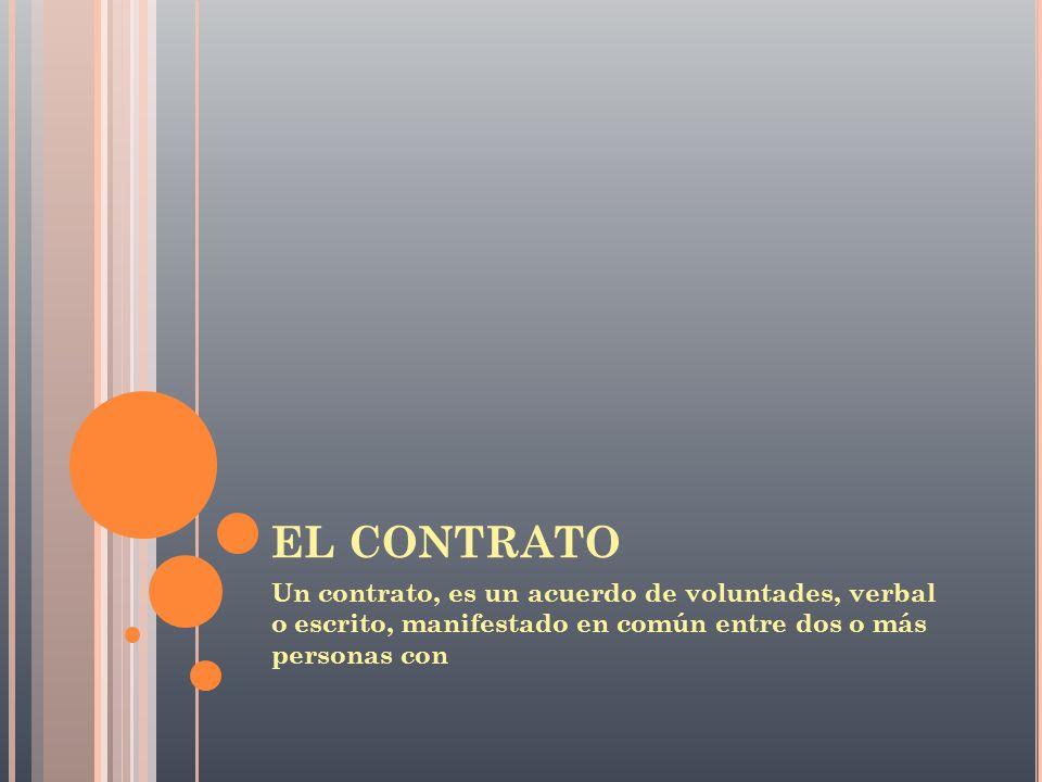 EL CONTRATO Un contrato, es un acuerdo de voluntades, verbal o escrito, manifestado en común entre dos o más personas con