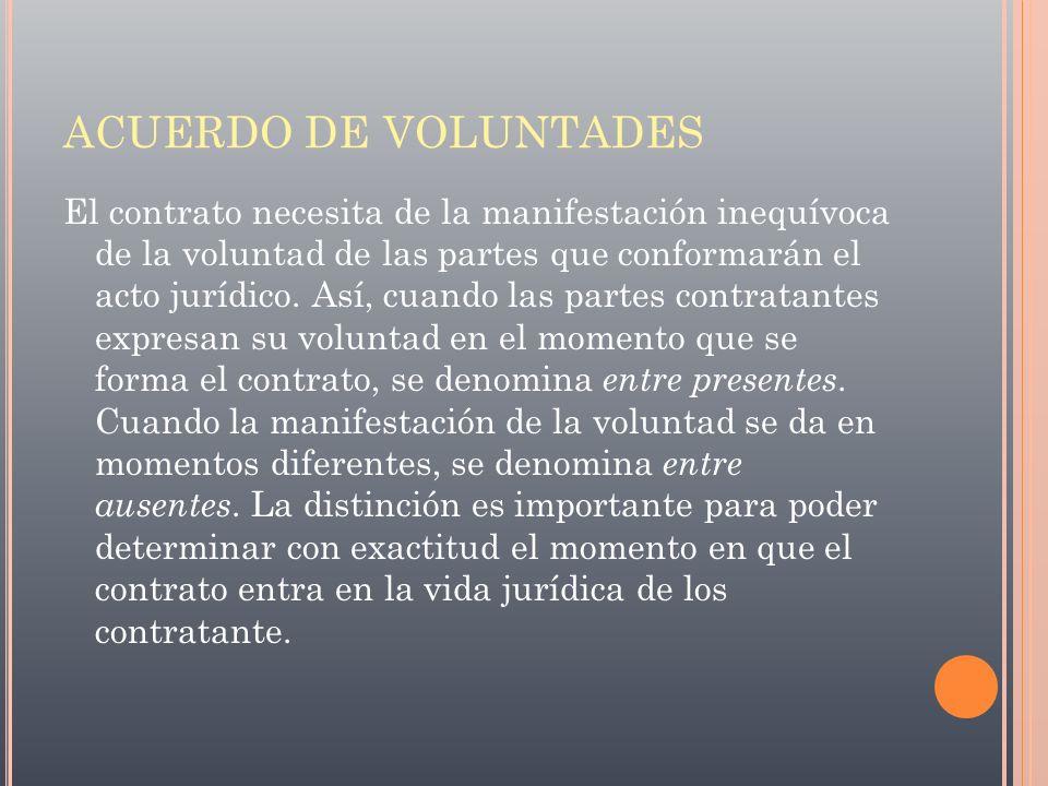 ACUERDO DE VOLUNTADES El contrato necesita de la manifestación inequívoca de la voluntad de las partes que conformarán el acto jurídico. Así, cuando l