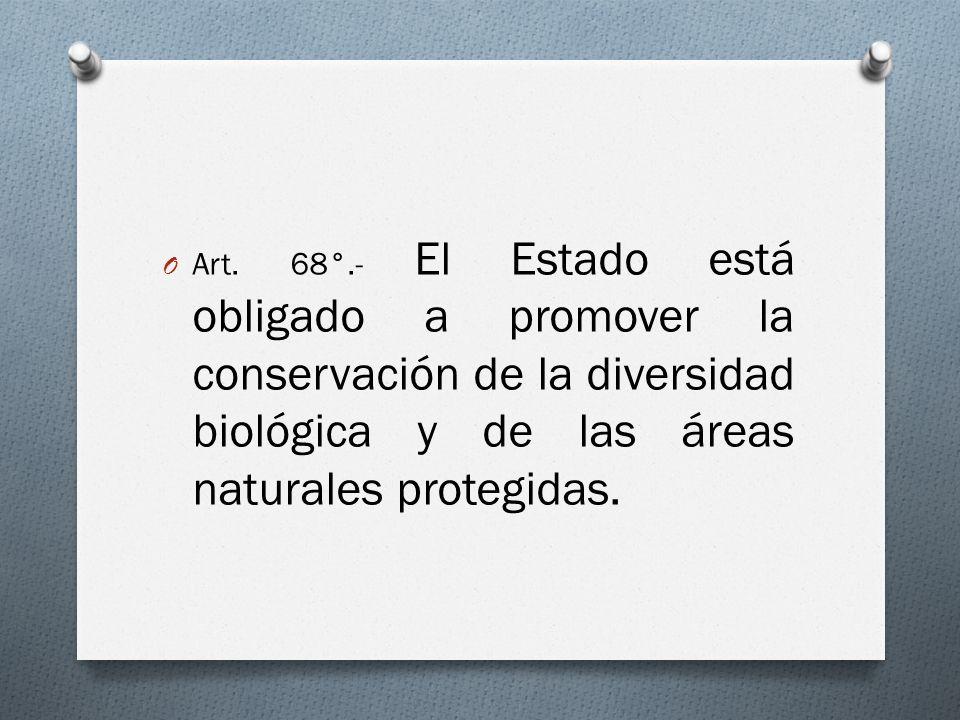 O Art. 68°.- El Estado está obligado a promover la conservación de la diversidad biológica y de las áreas naturales protegidas.