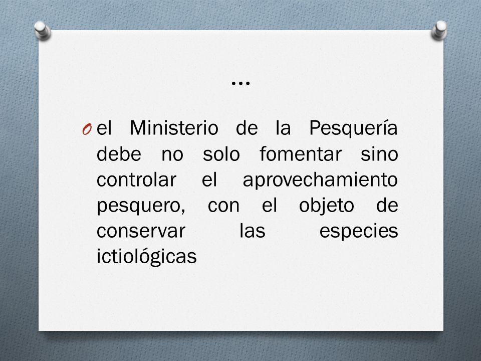 … O el Ministerio de la Pesquería debe no solo fomentar sino controlar el aprovechamiento pesquero, con el objeto de conservar las especies ictiológic