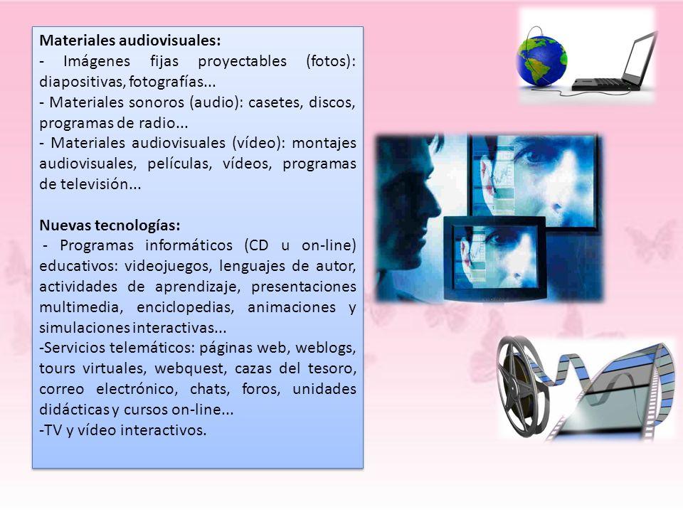 Materiales audiovisuales: - Imágenes fijas proyectables (fotos): diapositivas, fotografías... - Materiales sonoros (audio): casetes, discos, programas