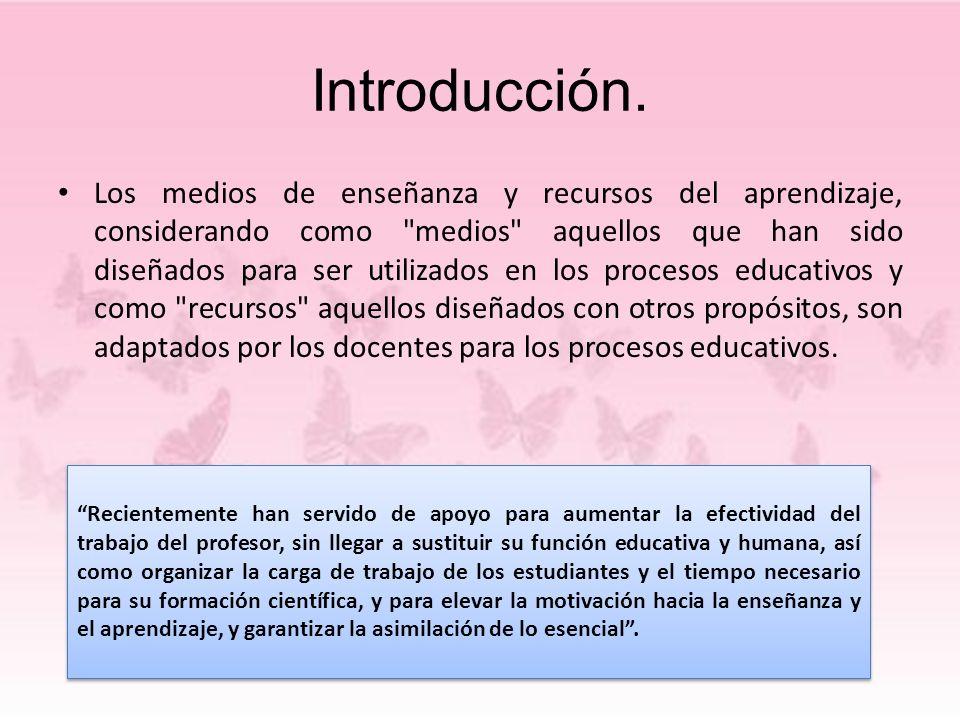 Introducción. Los medios de enseñanza y recursos del aprendizaje, considerando como