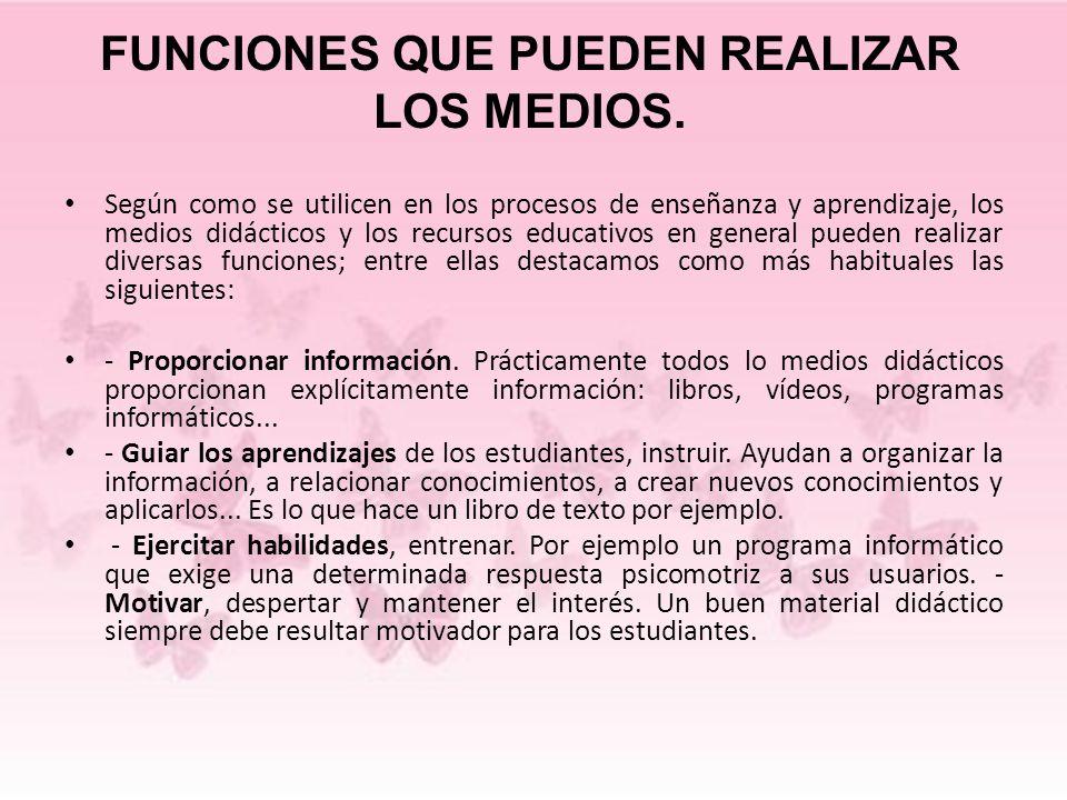 FUNCIONES QUE PUEDEN REALIZAR LOS MEDIOS. Según como se utilicen en los procesos de enseñanza y aprendizaje, los medios didácticos y los recursos educ