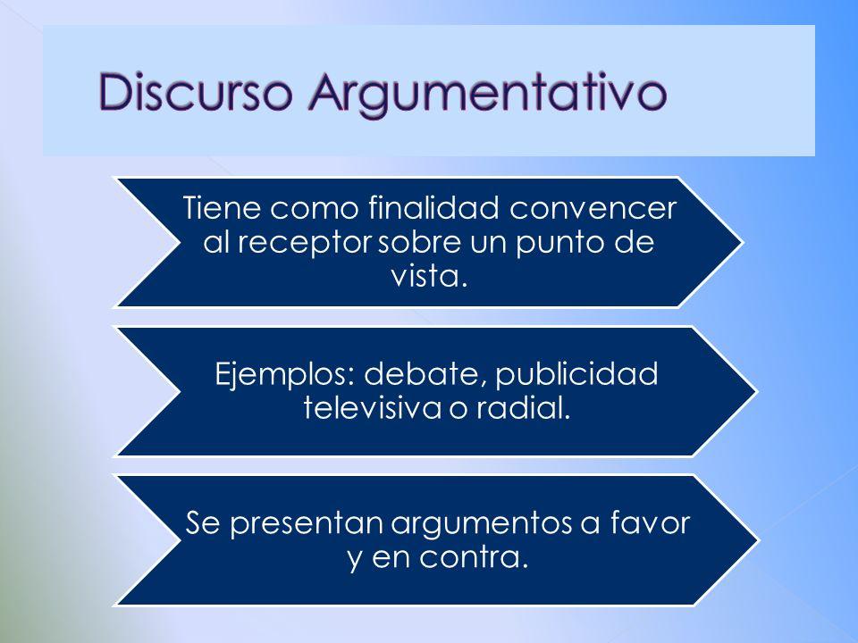 Tiene como finalidad convencer al receptor sobre un punto de vista. Ejemplos: debate, publicidad televisiva o radial. Se presentan argumentos a favor