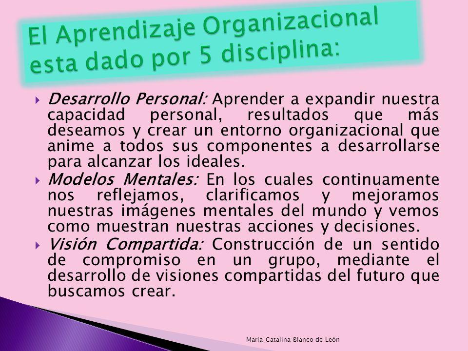 Desarrollo Personal: Aprender a expandir nuestra capacidad personal, resultados que más deseamos y crear un entorno organizacional que anime a todos s