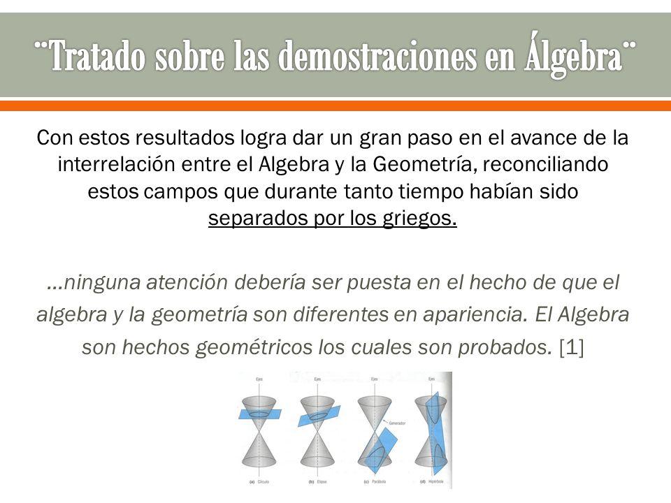 Con estos resultados logra dar un gran paso en el avance de la interrelación entre el Algebra y la Geometría, reconciliando estos campos que durante t