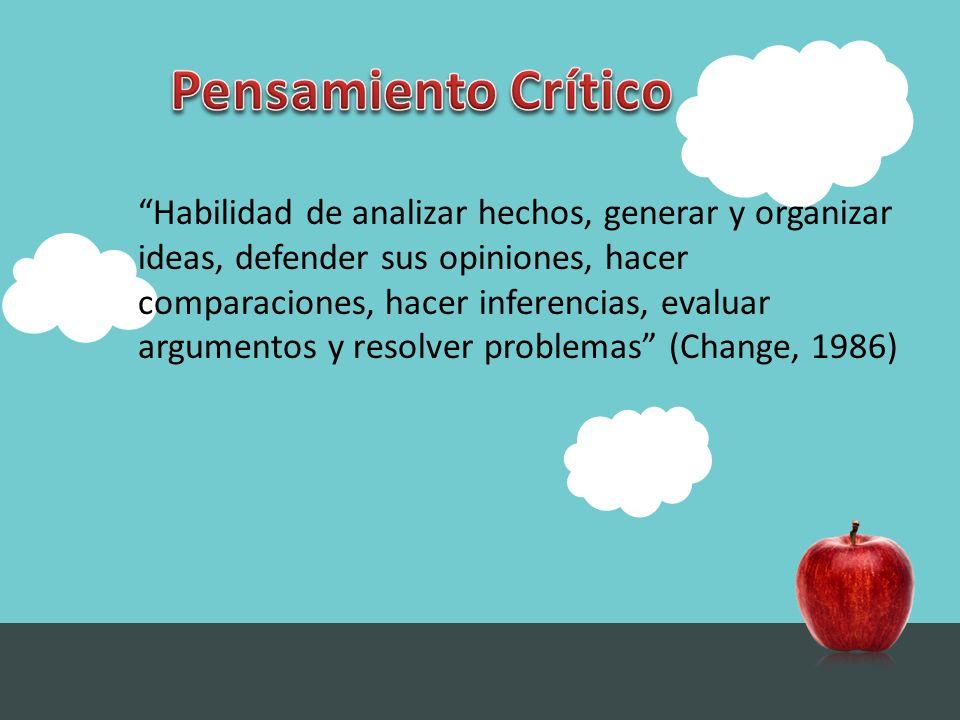 Habilidad de analizar hechos, generar y organizar ideas, defender sus opiniones, hacer comparaciones, hacer inferencias, evaluar argumentos y resolver