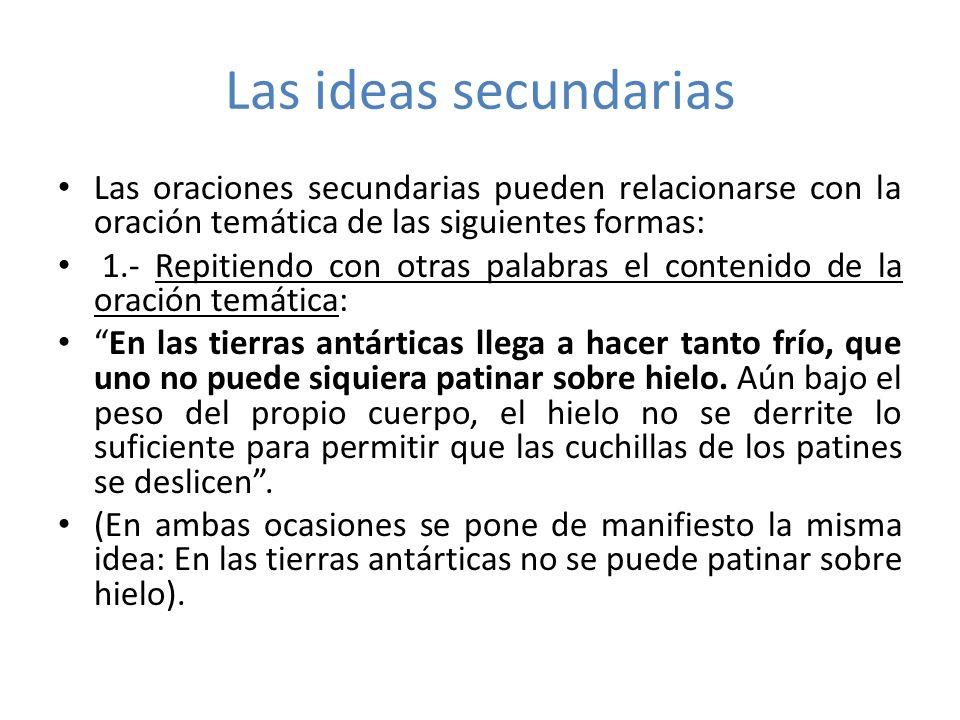 Las ideas secundarias 2.- Ejemplificando con casos y aplicaciones concretas la oración temática: La humedad también afecta la salud.