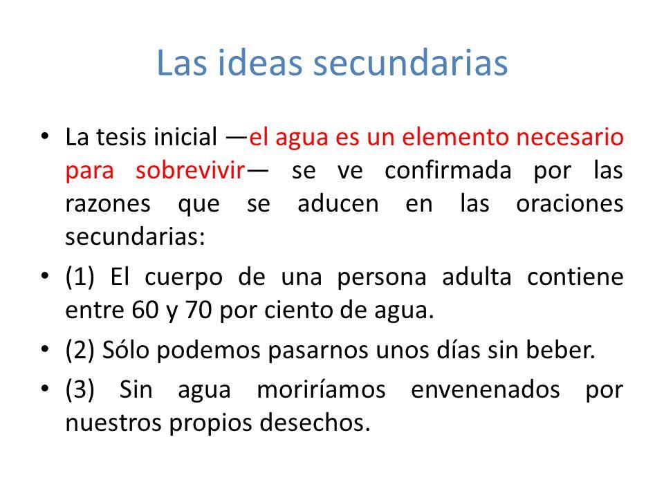 Ordenación y conexión entre las oraciones secundarias Las ideas secundarias del párrafo se deben ordenar de manera que expliquen y mantengan la coherencia debida con la idea central.