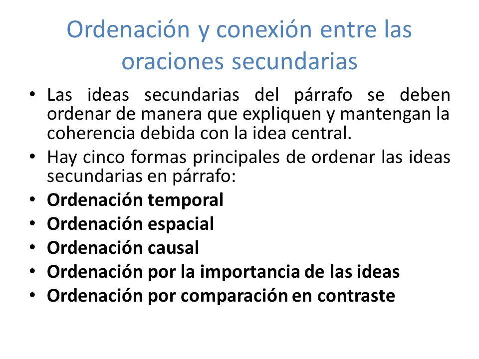 1.- Ordenación temporal En un párrafo en que se relate una anécdota, un incidente una breve historia, la mejor forma de ordenar las ideas es la ordenación temporal: la ordenación de los hechos en el tiempo.