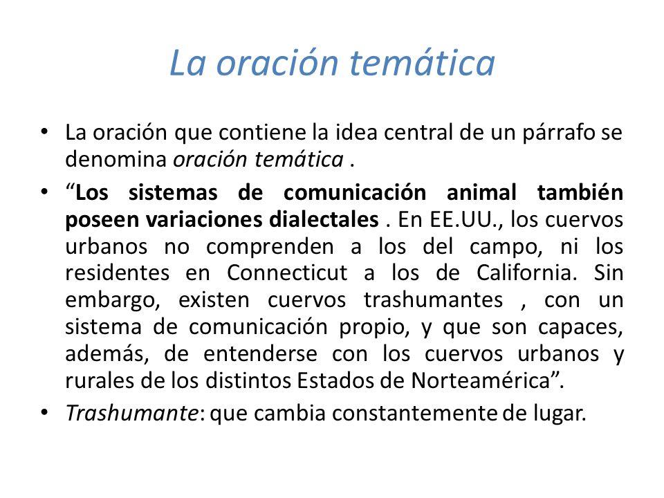 La oración temática Idea central Idea de apoyo 1 Idea de apoyo 2 Los sistemas de comunicación animal también poseen variaciones dialectales.