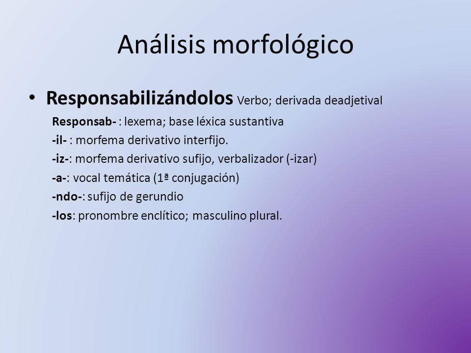 Análisis morfológico Responsabilizándolos Verbo; derivada deadjetival Responsab- : lexema; base léxica sustantiva -il- : morfema derivativo interfijo.