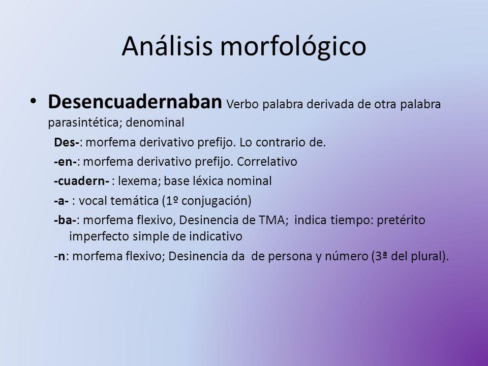 Análisis morfológico Desencuadernaban Verbo palabra derivada de otra palabra parasintética; denominal Des-: morfema derivativo prefijo. Lo contrario d