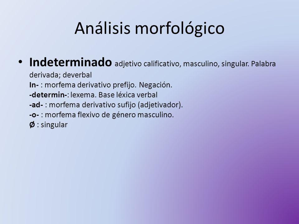 Análisis morfológico Indeterminado adjetivo calificativo, masculino, singular. Palabra derivada; deverbal In- : morfema derivativo prefijo. Negación.
