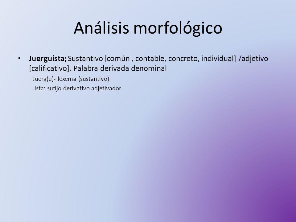 Análisis morfológico Juerguista; Sustantivo [común, contable, concreto, individual] /adjetivo [calificativo]. Palabra derivada denominal Juerg(u)- lex