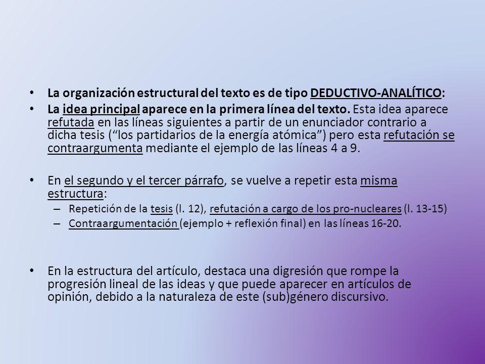 La organización estructural del texto es de tipo DEDUCTIVO-ANALÍTICO: La idea principal aparece en la primera línea del texto. Esta idea aparece refut