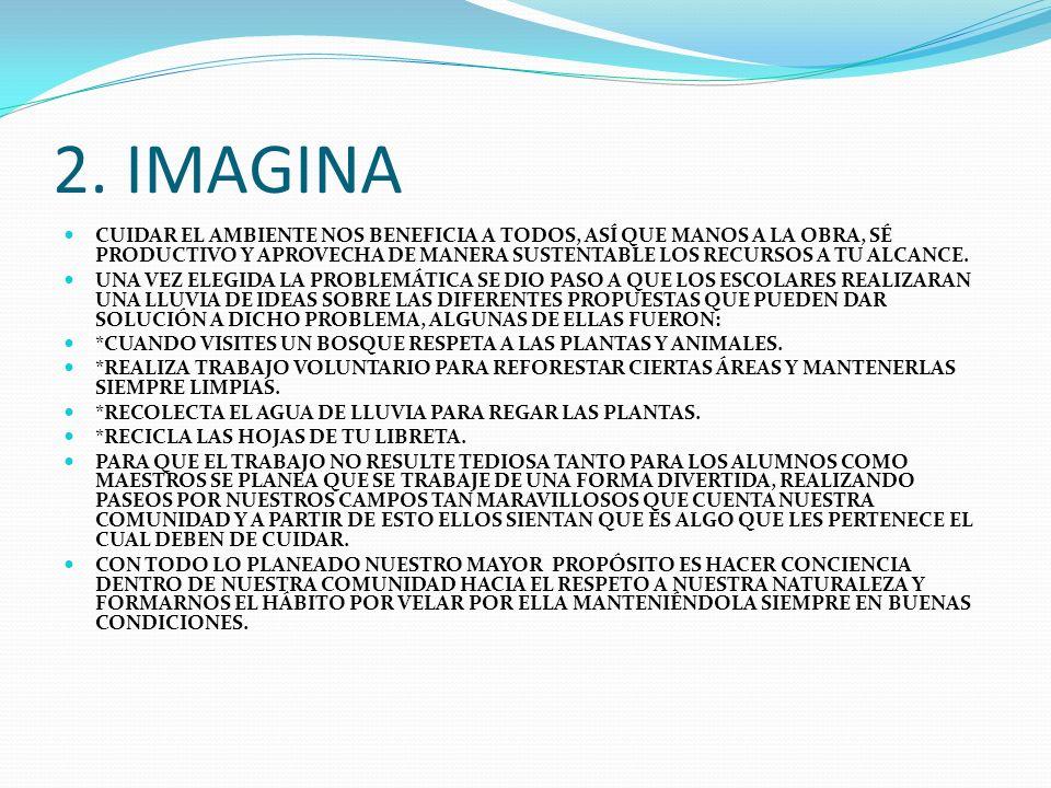 2. IMAGINA CUIDAR EL AMBIENTE NOS BENEFICIA A TODOS, ASÍ QUE MANOS A LA OBRA, SÉ PRODUCTIVO Y APROVECHA DE MANERA SUSTENTABLE LOS RECURSOS A TU ALCANC