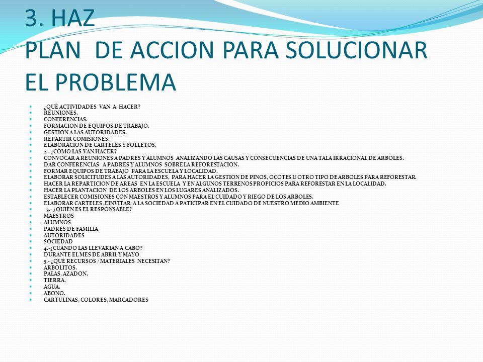 3. HAZ PLAN DE ACCION PARA SOLUCIONAR EL PROBLEMA ¿QUÉ ACTIVIDADES VAN A HACER? REUNIONES. CONFERENCIAS. FORMACION DE EQUIPOS DE TRABAJO. GESTION A LA