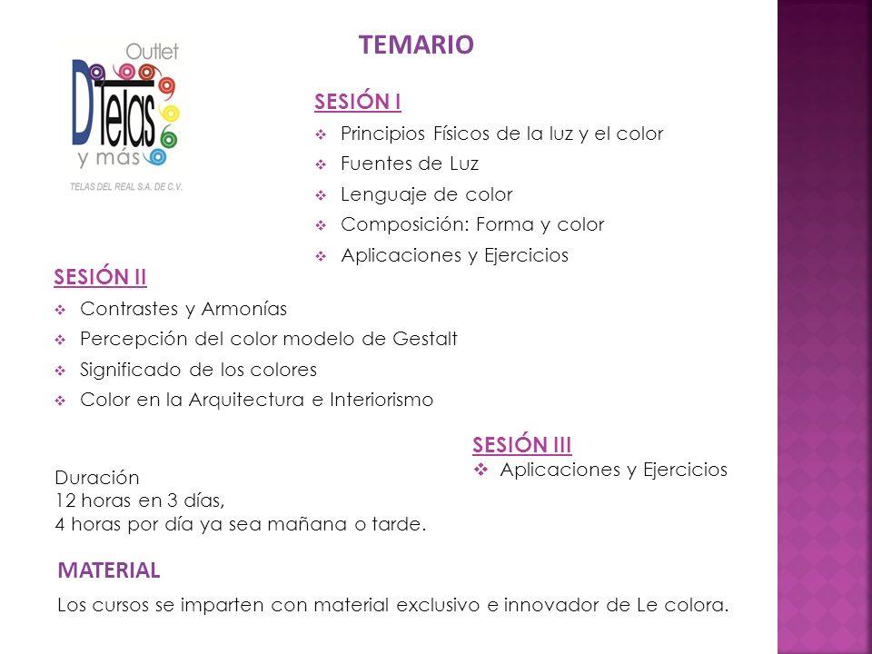 SESIÓN II Contrastes y Armonías Percepción del color modelo de Gestalt Significado de los colores Color en la Arquitectura e Interiorismo Los cursos s