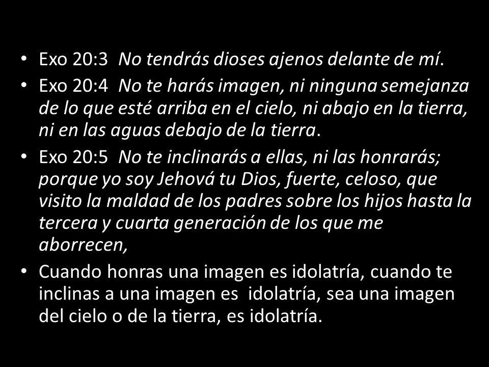 Exo 20:3 No tendrás dioses ajenos delante de mí. Exo 20:4 No te harás imagen, ni ninguna semejanza de lo que esté arriba en el cielo, ni abajo en la t