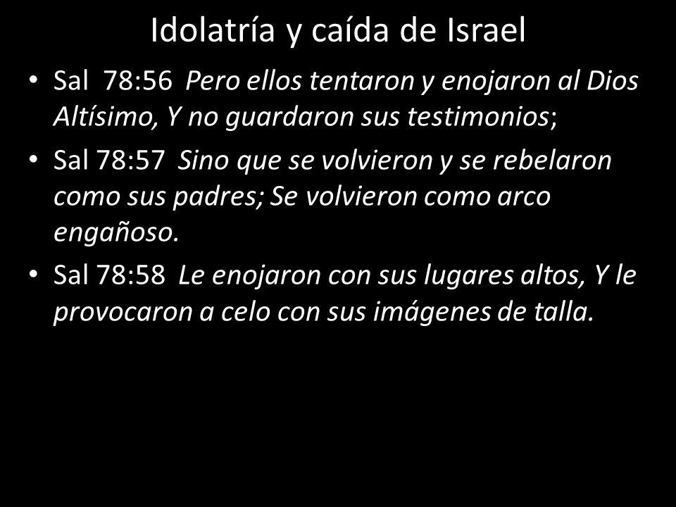 Idolatría y caída de Israel Sal 78:56 Pero ellos tentaron y enojaron al Dios Altísimo, Y no guardaron sus testimonios; Sal 78:57 Sino que se volvieron