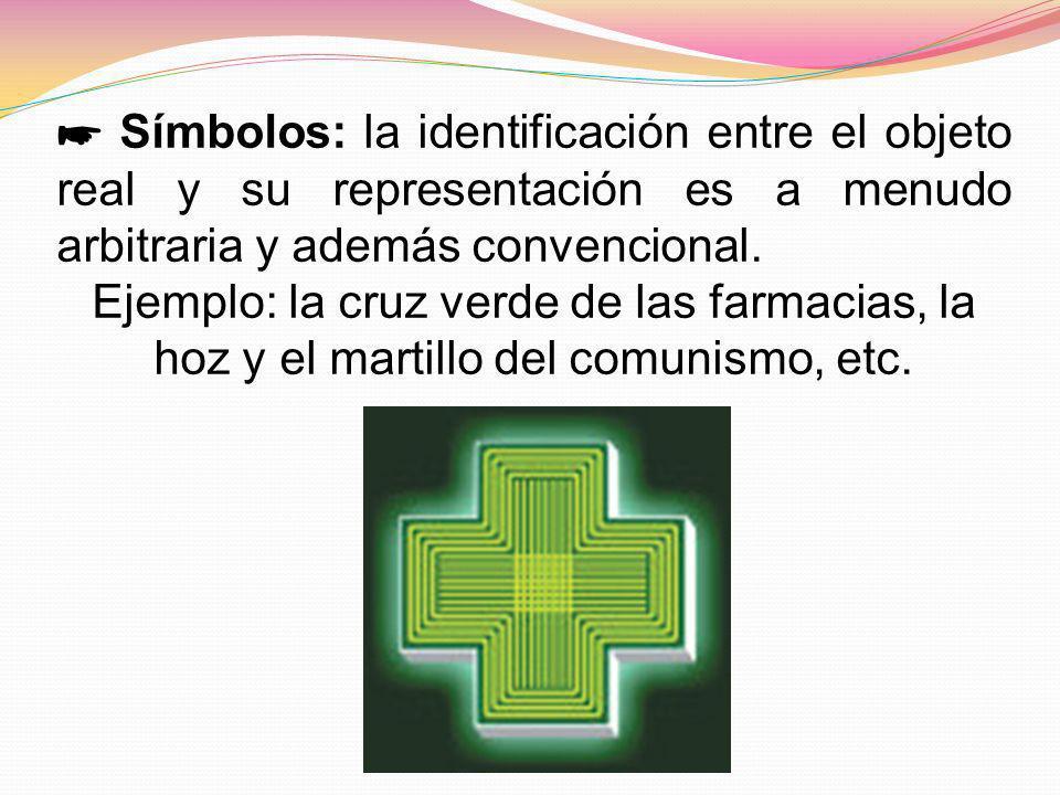 Símbolos: la identificación entre el objeto real y su representación es a menudo arbitraria y además convencional. Ejemplo: la cruz verde de las farma