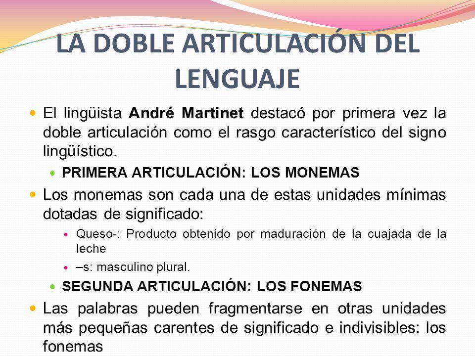 LA DOBLE ARTICULACIÓN DEL LENGUAJE El lingüista André Martinet destacó por primera vez la doble articulación como el rasgo característico del signo lingüístico.