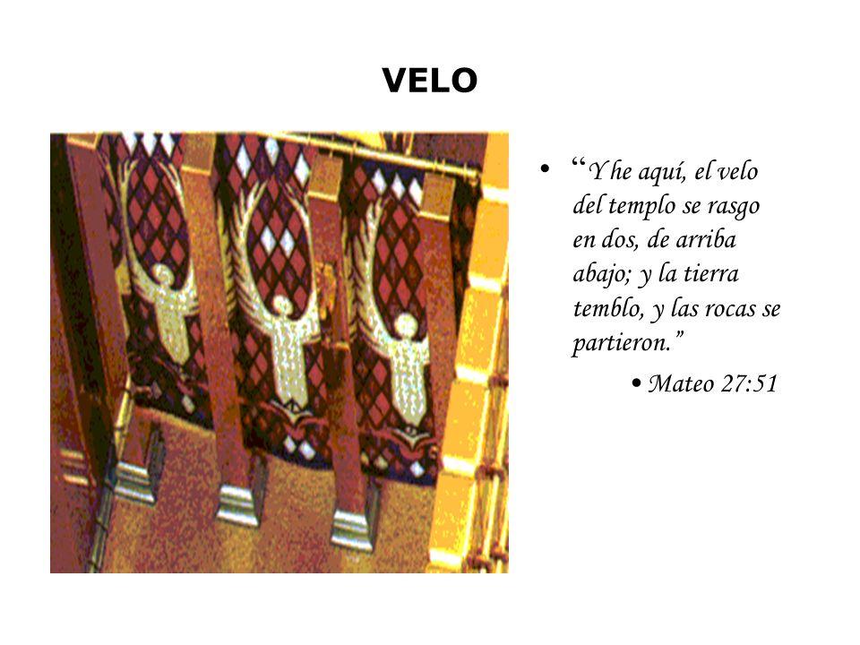 VELO Y he aquí, el velo del templo se rasgo en dos, de arriba abajo; y la tierra temblo, y las rocas se partieron. Mateo 27:51