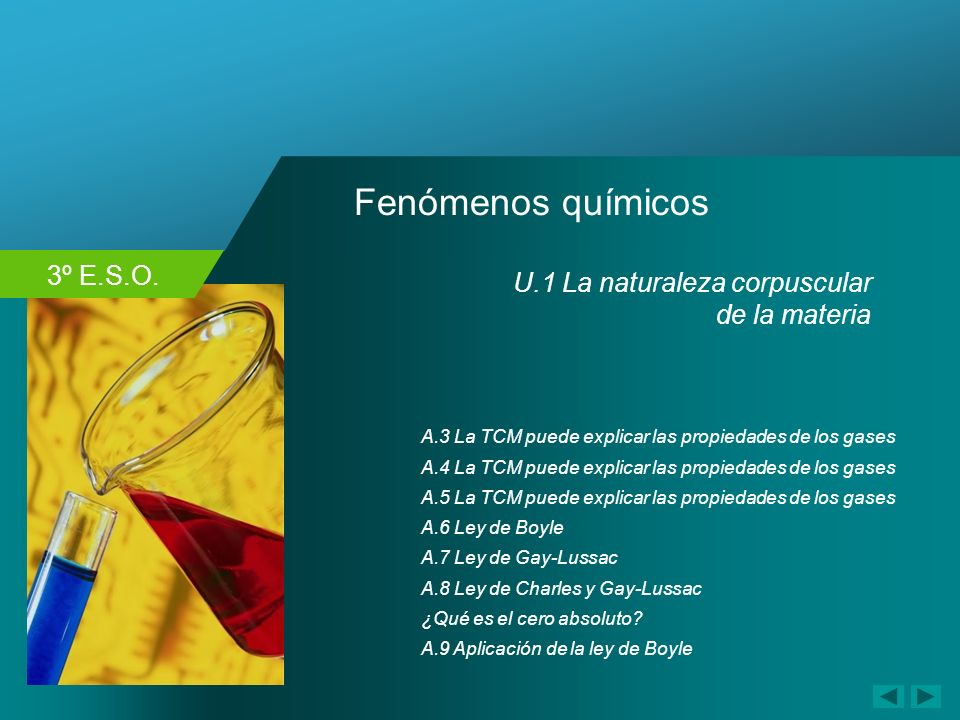 3º E.S.O. Fenómenos químicos A.4 La TCM puede explicar las propiedades de los gases A.6 Ley de Boyle A.7 Ley de Gay-Lussac A.3 La TCM puede explicar l