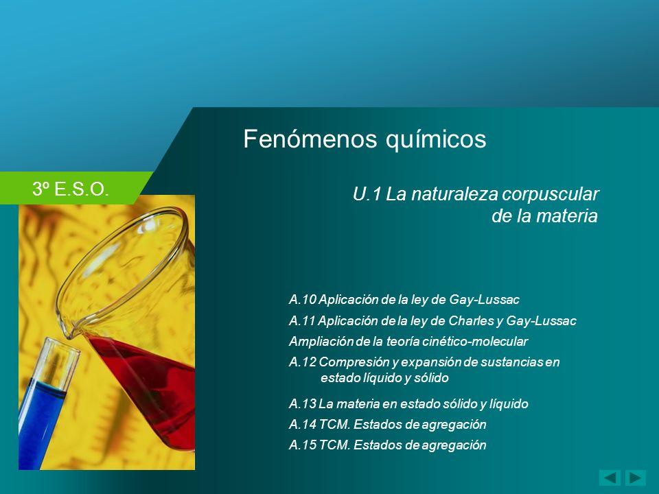 3º E.S.O. Fenómenos químicos A.10 Aplicación de la ley de Gay-Lussac Ampliación de la teoría cinético-molecular A.11 Aplicación de la ley de Charles y