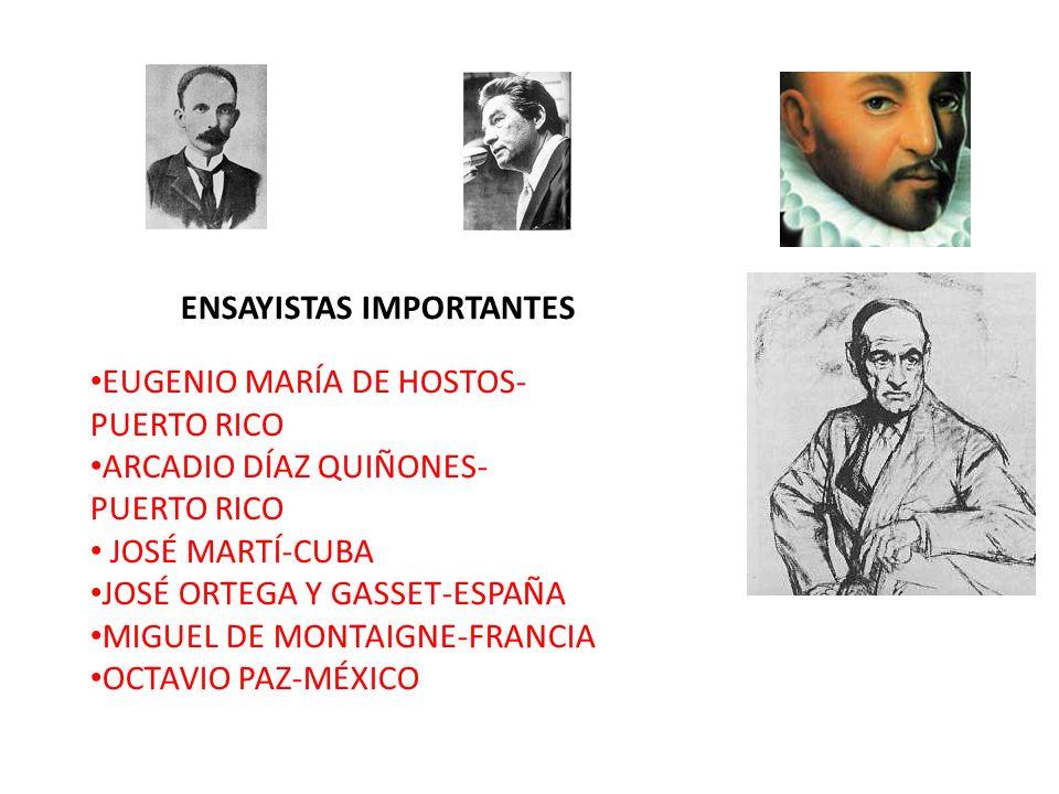 ENSAYISTAS IMPORTANTES EUGENIO MARÍA DE HOSTOS- PUERTO RICO ARCADIO DÍAZ QUIÑONES- PUERTO RICO JOSÉ MARTÍ-CUBA JOSÉ ORTEGA Y GASSET-ESPAÑA MIGUEL DE M