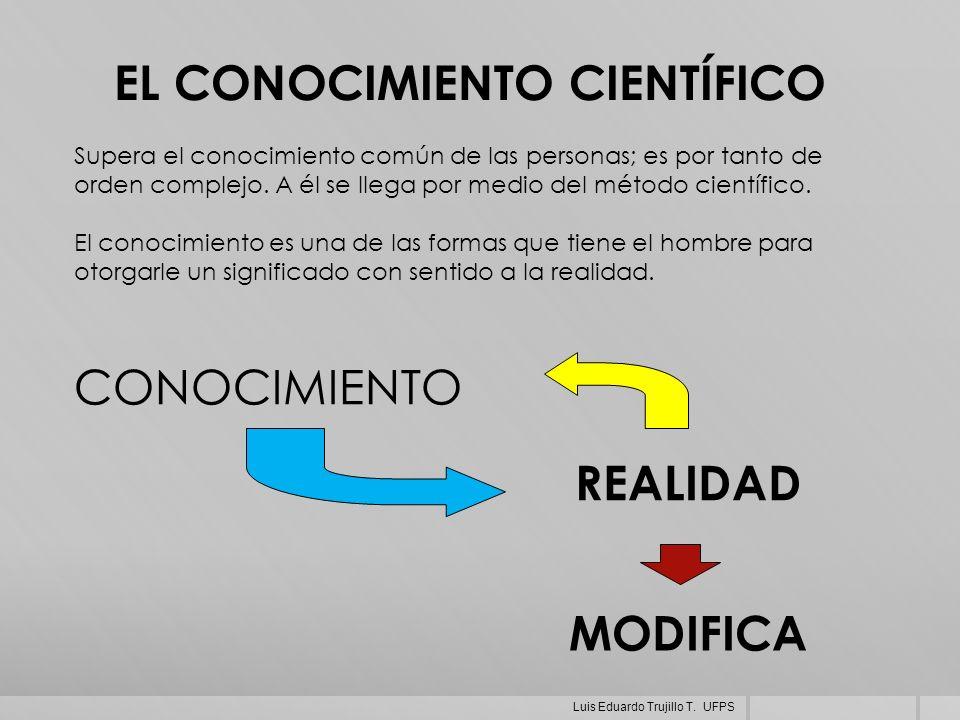 Supera el conocimiento común de las personas; es por tanto de orden complejo. A él se llega por medio del método científico. El conocimiento es una de