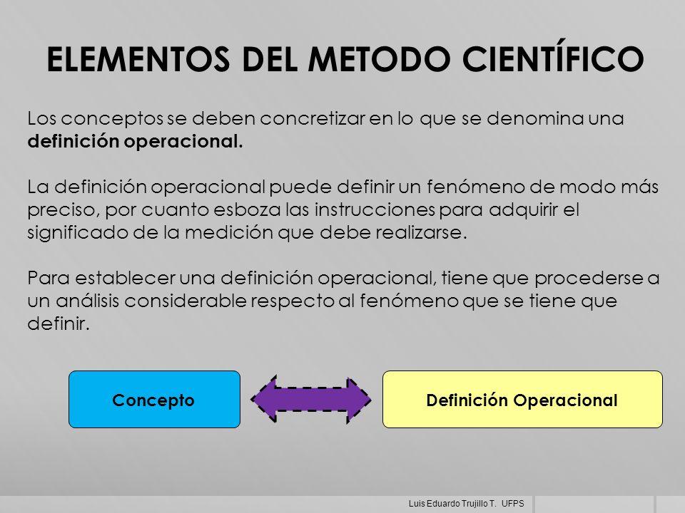ELEMENTOS DEL METODO CIENTÍFICO Los conceptos se deben concretizar en lo que se denomina una definición operacional. La definición operacional puede d