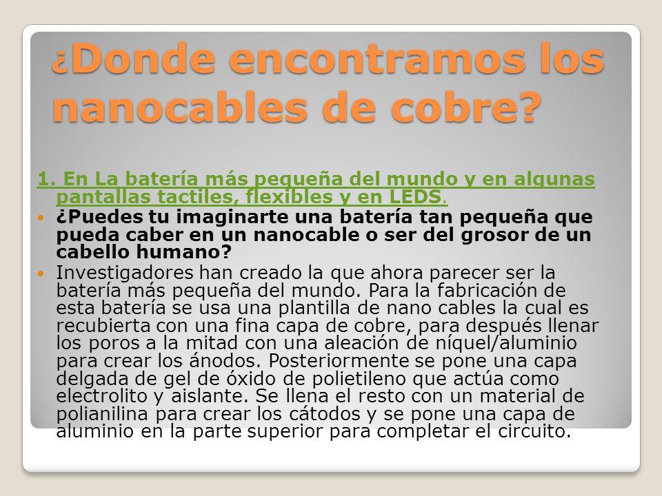 ¿ Donde encontramos los nanocables de cobre.1.