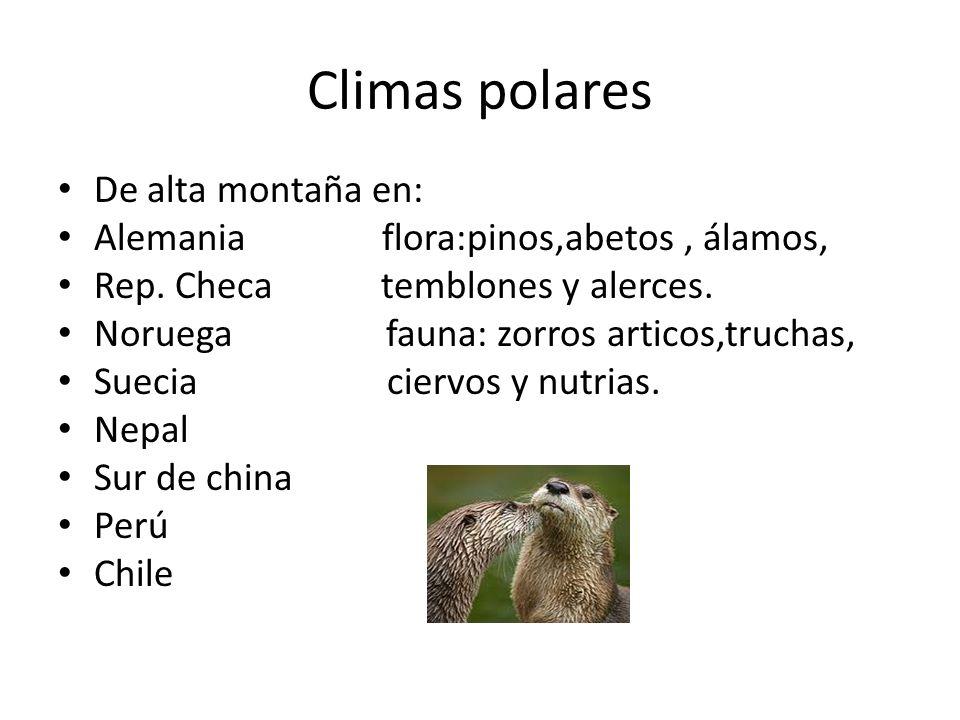 Climas polares De alta montaña en: Alemania flora:pinos,abetos, álamos, Rep. Checa temblones y alerces. Noruega fauna: zorros articos,truchas, Suecia