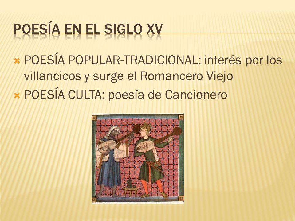 POESÍA POPULAR-TRADICIONAL: interés por los villancicos y surge el Romancero Viejo POESÍA CULTA: poesía de Cancionero
