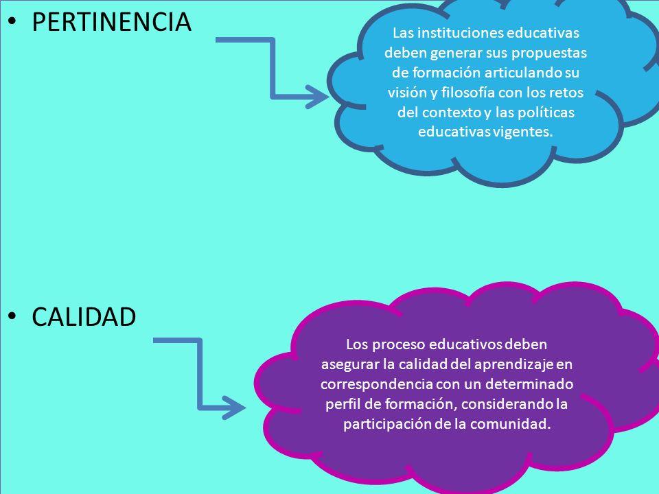 PERTINENCIA CALIDAD PERTINENCIA CALIDAD Las instituciones educativas deben generar sus propuestas de formación articulando su visión y filosofía con l
